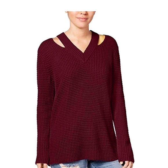 IOT Sweaters - Hooked Up by IOT Cutout Collar Sweater